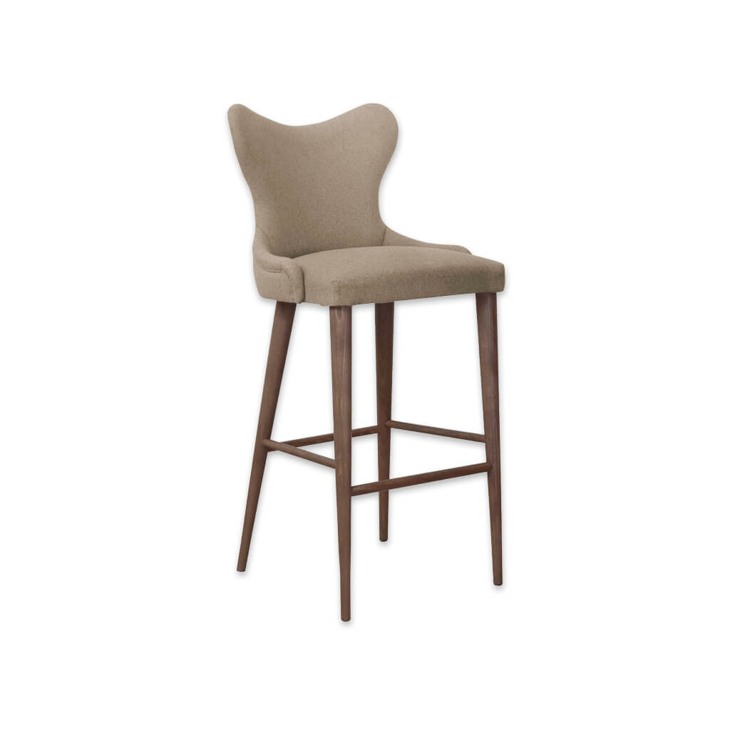 Cleo fabric bar stool with curvaceous padded backrest and tapered timber legs splayed to the rear 6012 BR1 - Designers Image