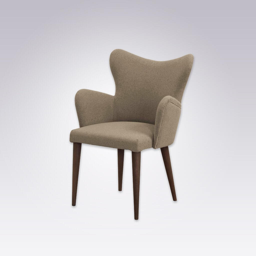 Cleo Beige Wingback Chair with Fully Upholstered Rounded Arms and Conical Legs 4009 AC1