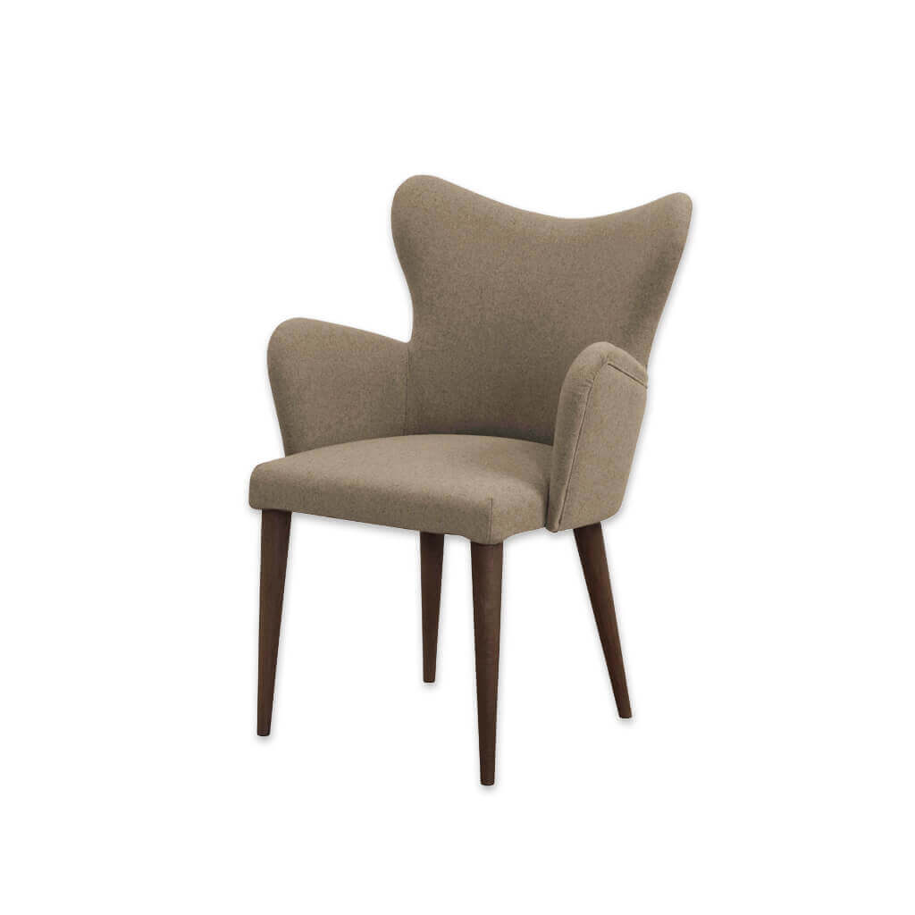 Cleo Beige Wingback Chair with Fully Upholstered Rounded Arms and Conical Legs 4009 AC1 - Designers Image