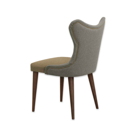 Cleo Two Tone Dining Chair with Tapered Wooden Legs and Wing Back Piping Detail 3020 RC1