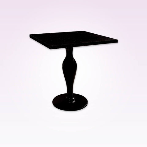 Click black gloss bar table with case like pedestal and square top. 1106