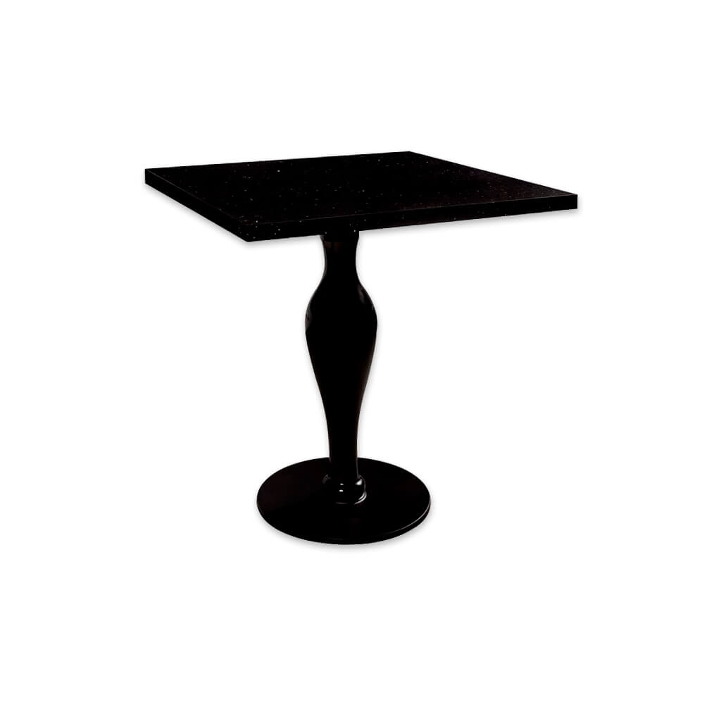 Click black gloss bar table with case like pedestal and square top. 1106 - Designers Image