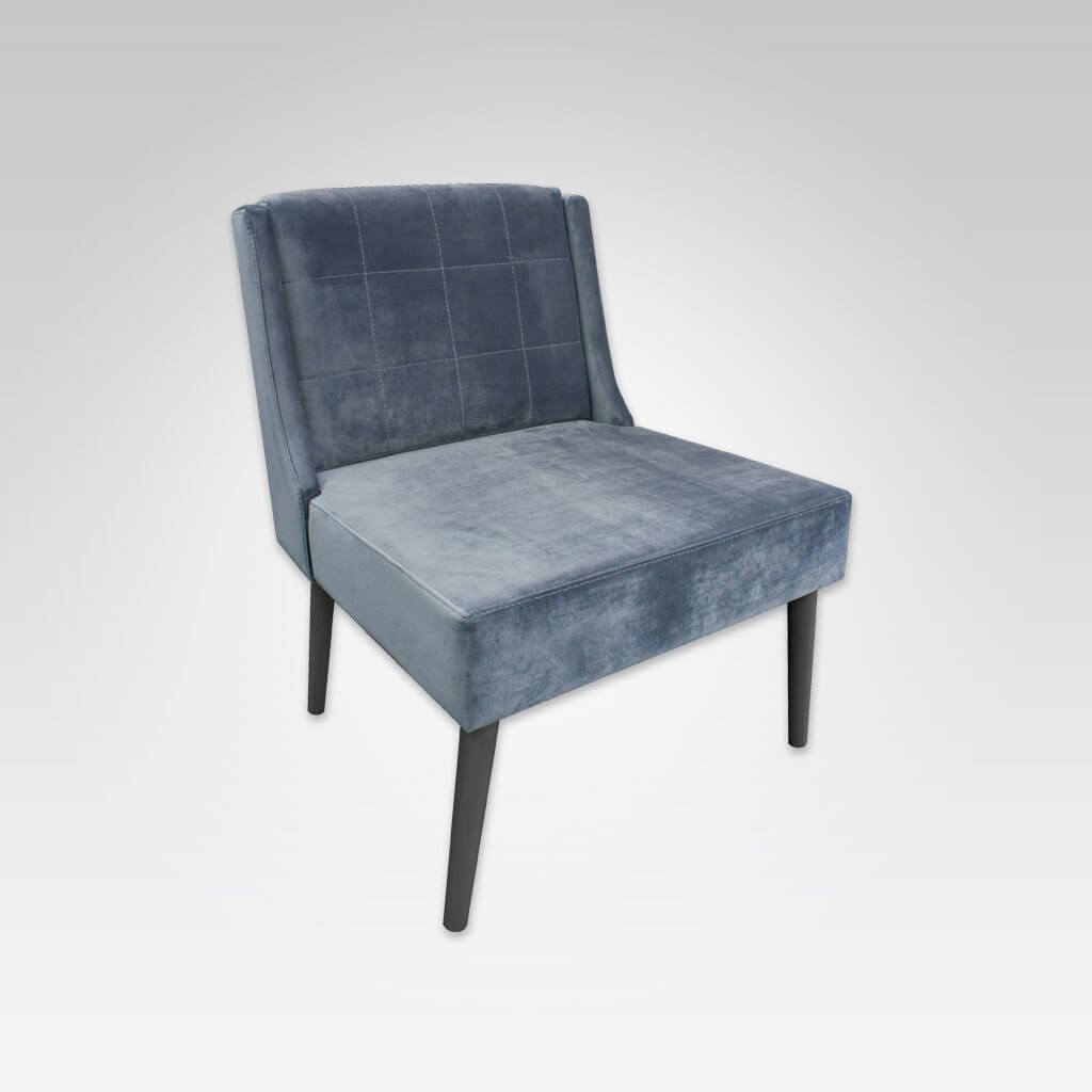 Cobe Grey Velvet Lounge Chair with Stiching Detail and Conicle Dark Timber Legs 1067 LC1
