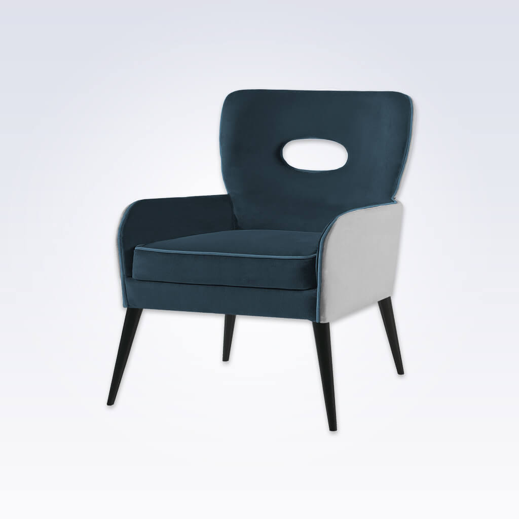Colorado Dark Blue Tub Chair With White Split Fabric Padded Backrest with Cut Out Detail and Splayed Wooden Legs 2009 TC1
