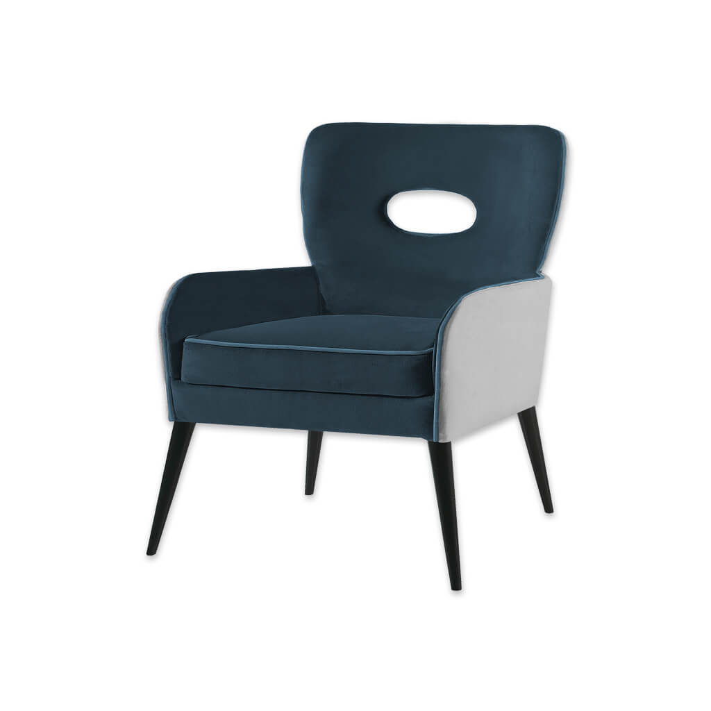 Colorado Dark Blue Tub Chair With White Split Fabric Padded Backrest with Cut Out Detail and Splayed Wooden Legs 2009 TC1 - Designers Image