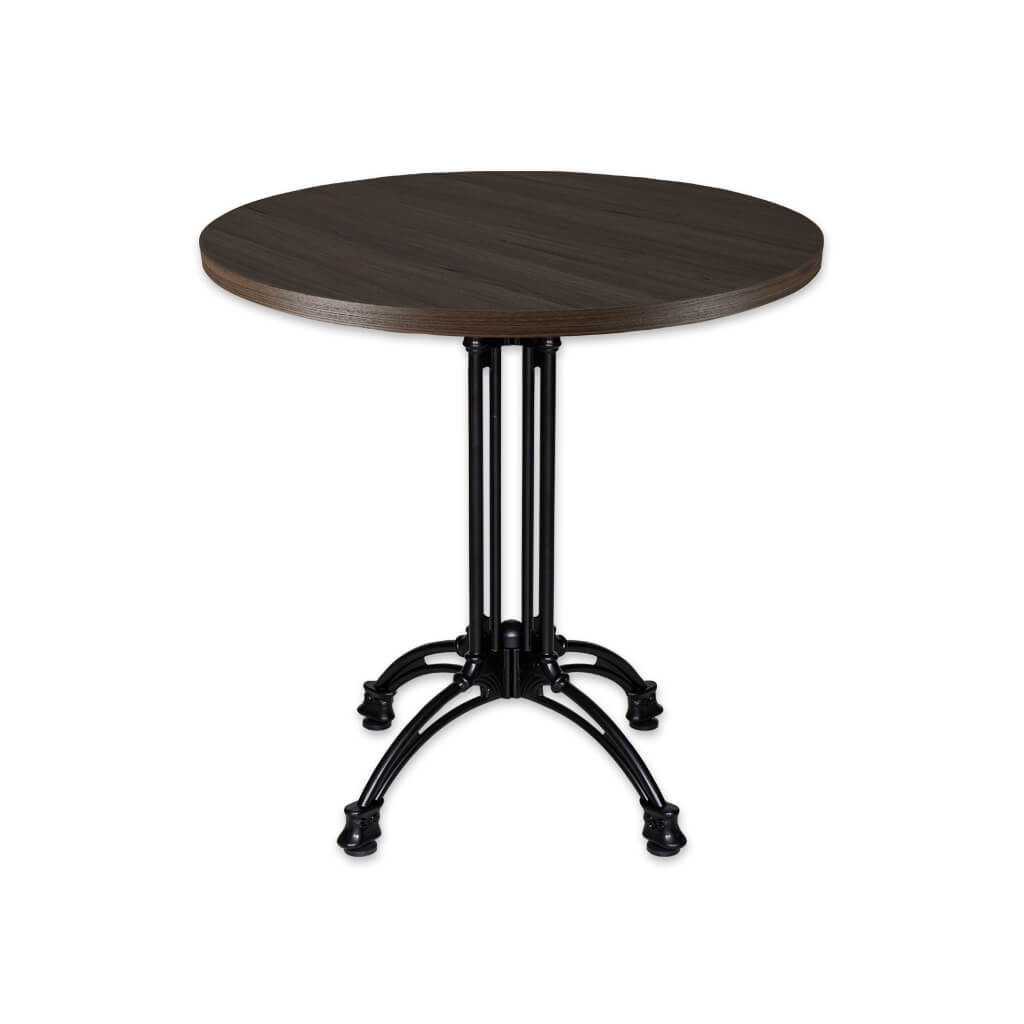 Industrial style black circle dining table with metal base - Conard 1170 - Designers Image