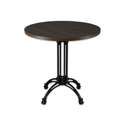 Industrial style black circle dining table with metal base - Conard 1170