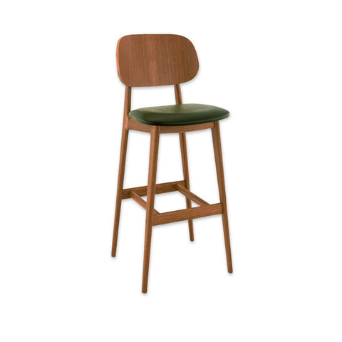 blue bar stool with light timber legs and upholstered seat 6059