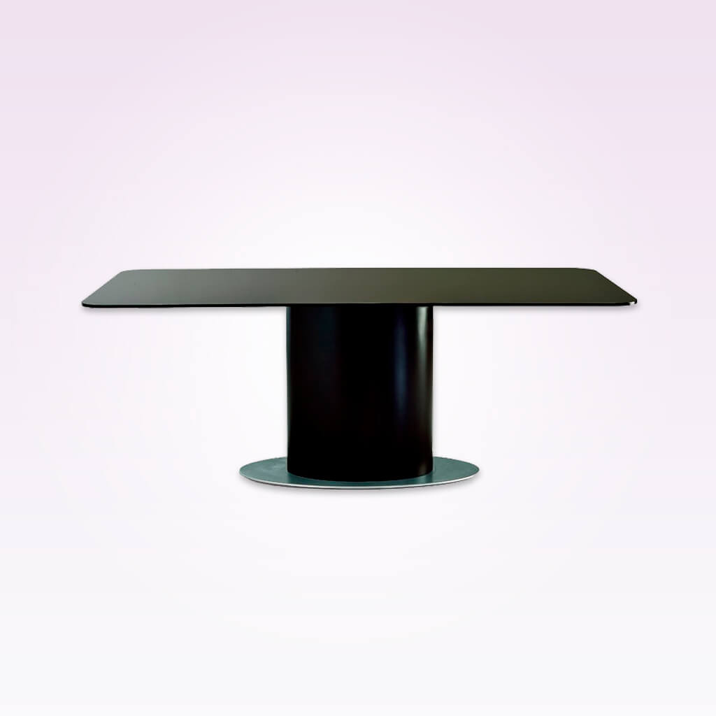 Cortez modern black dining table with metal base plate over-sized timber pedestal and rectangular top. 1108