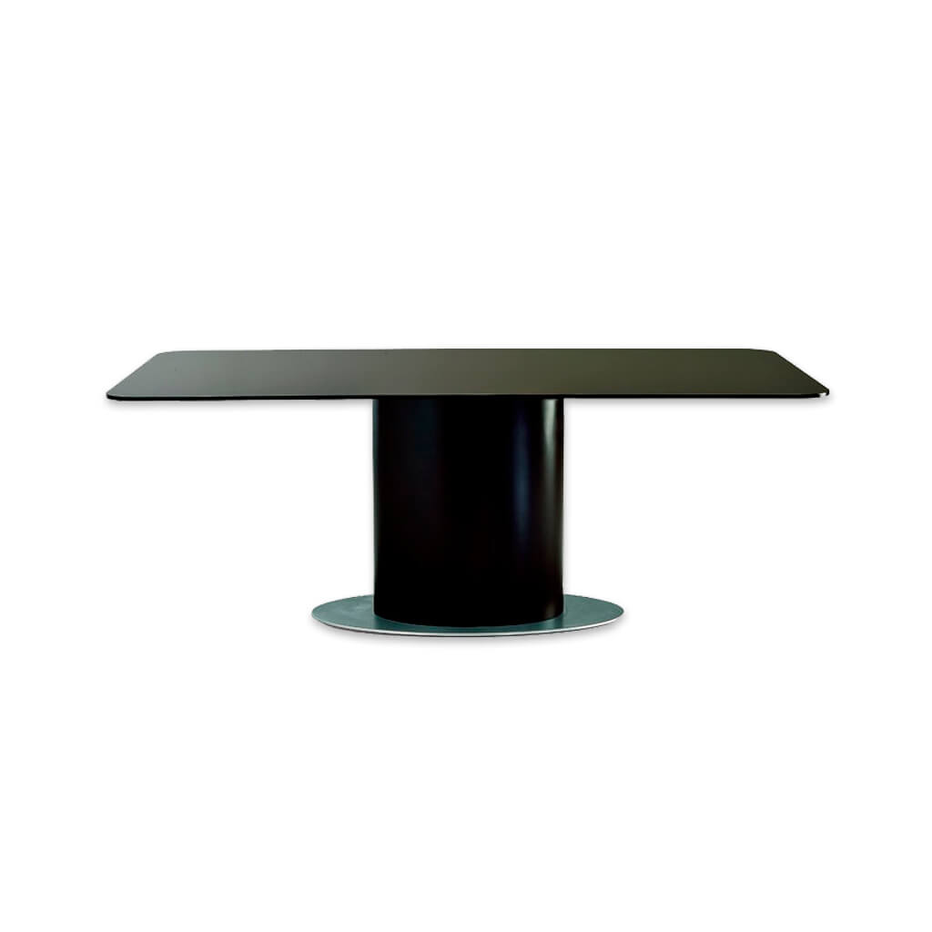 Cortez modern black dining table with metal base plate oversized timber pedestal and rectangular top. 1108 - Designers Image