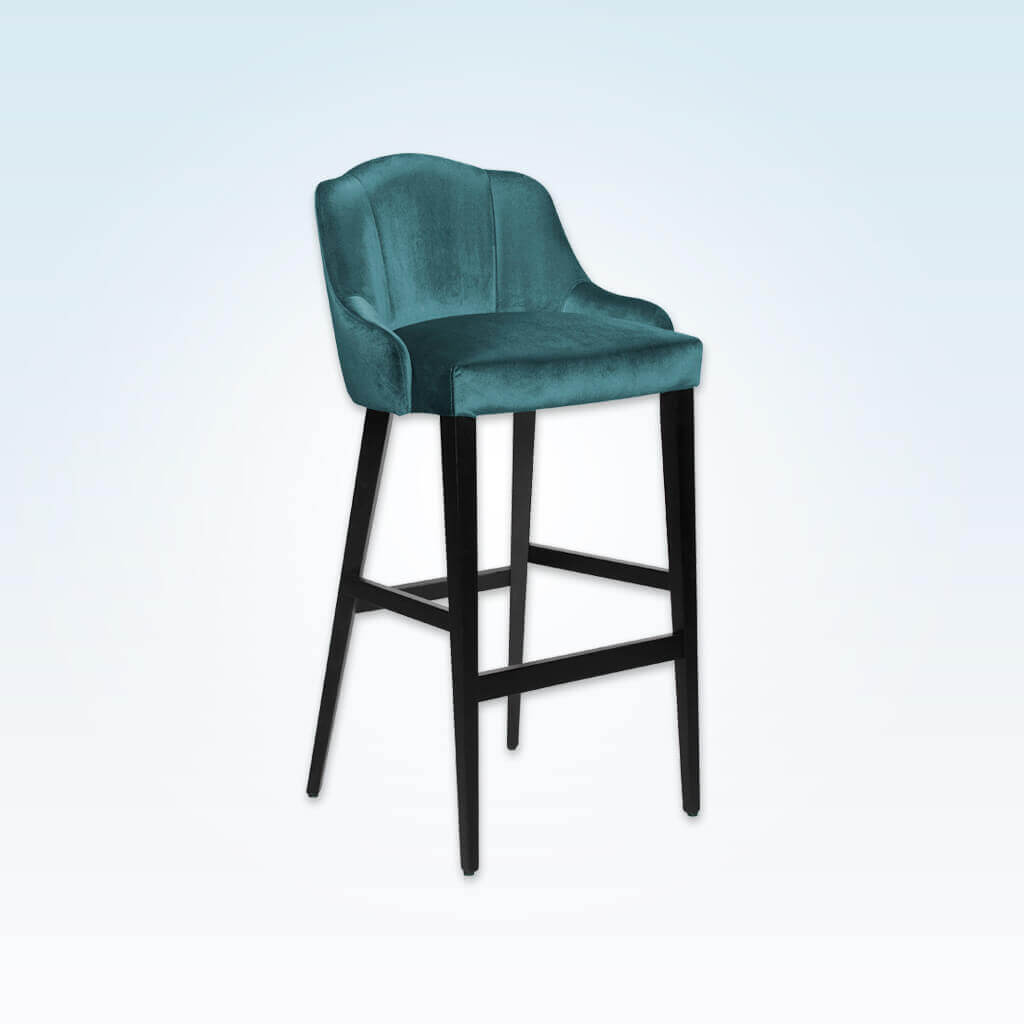 Crystal green bar stool with upholstered seat and backrest with show wood legs 6058 BR1