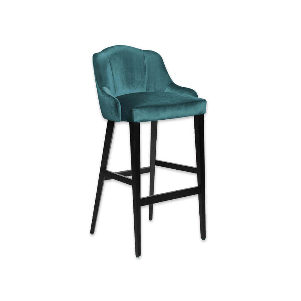 Crystal green bar stool with upholstered seat and backrest with show wood legs 6058 BR1 - Designers Image