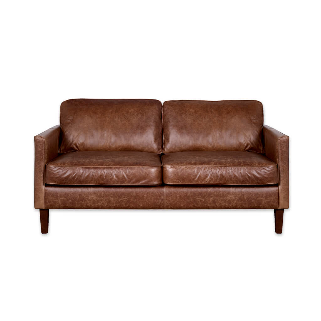 Dahl light brown leather sofa with deep back and seat cushions and tapered wooden legs 8013 SF1 - Designers Image
