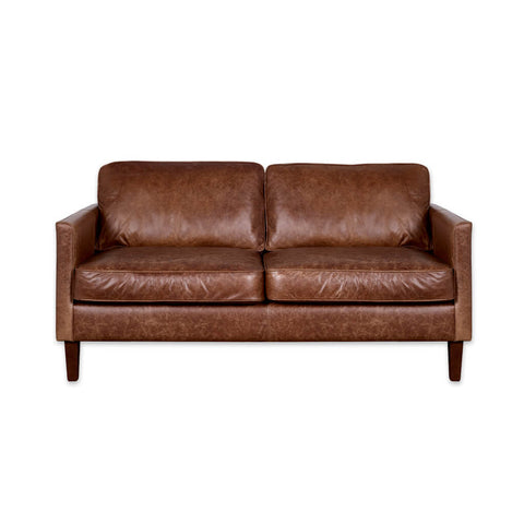 Dahl light brown leather sofa with deep back and seat cushions and tapered wooden legs 8013 SF1