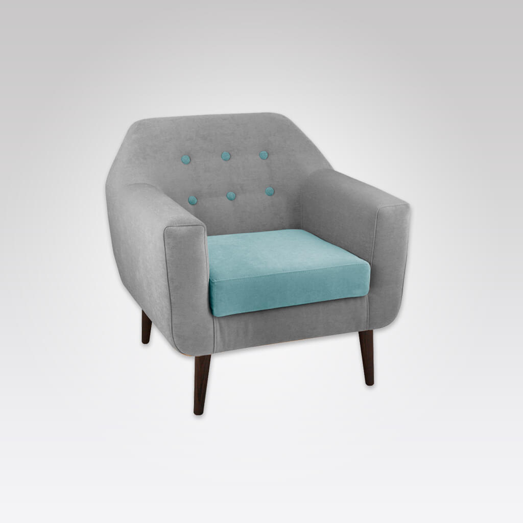 Dakota Split Upholstered Turquoise Lounge Chair with Button Detail Thick Rounded Arms and Loose Seat Pad 1020 LC1