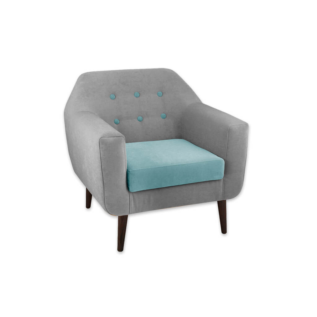 Dakota Split Upholstered Turquoise Lounge Chair with Button Detail Thick Rounded Arms and Loose Seat Pad 1020 LC1 - Designers Image