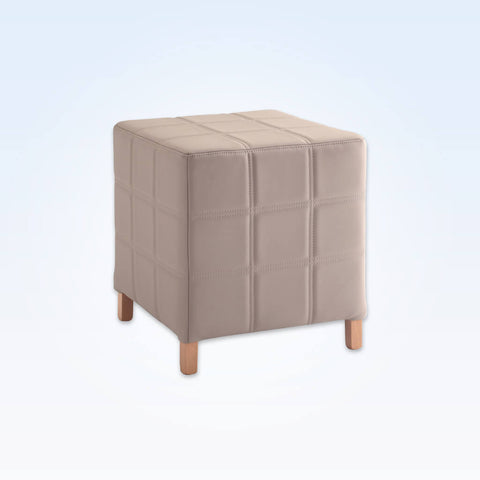 Dali cream cube ottoman with feet and decorative stitching 10008 OT1