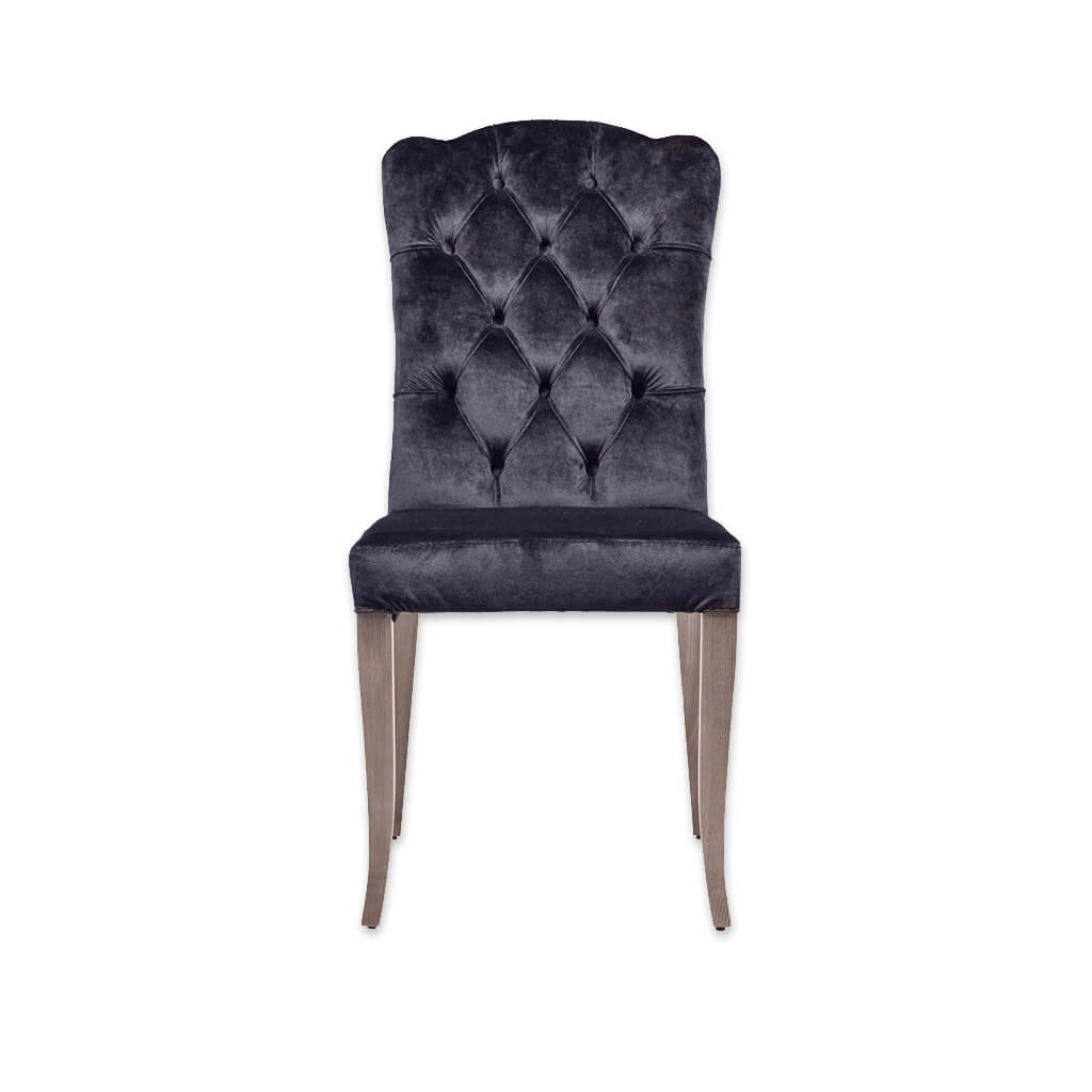 Dali Navy Dining Chair Fully Upholstered with Back Button Detail 3002 RC1 - Designers Image