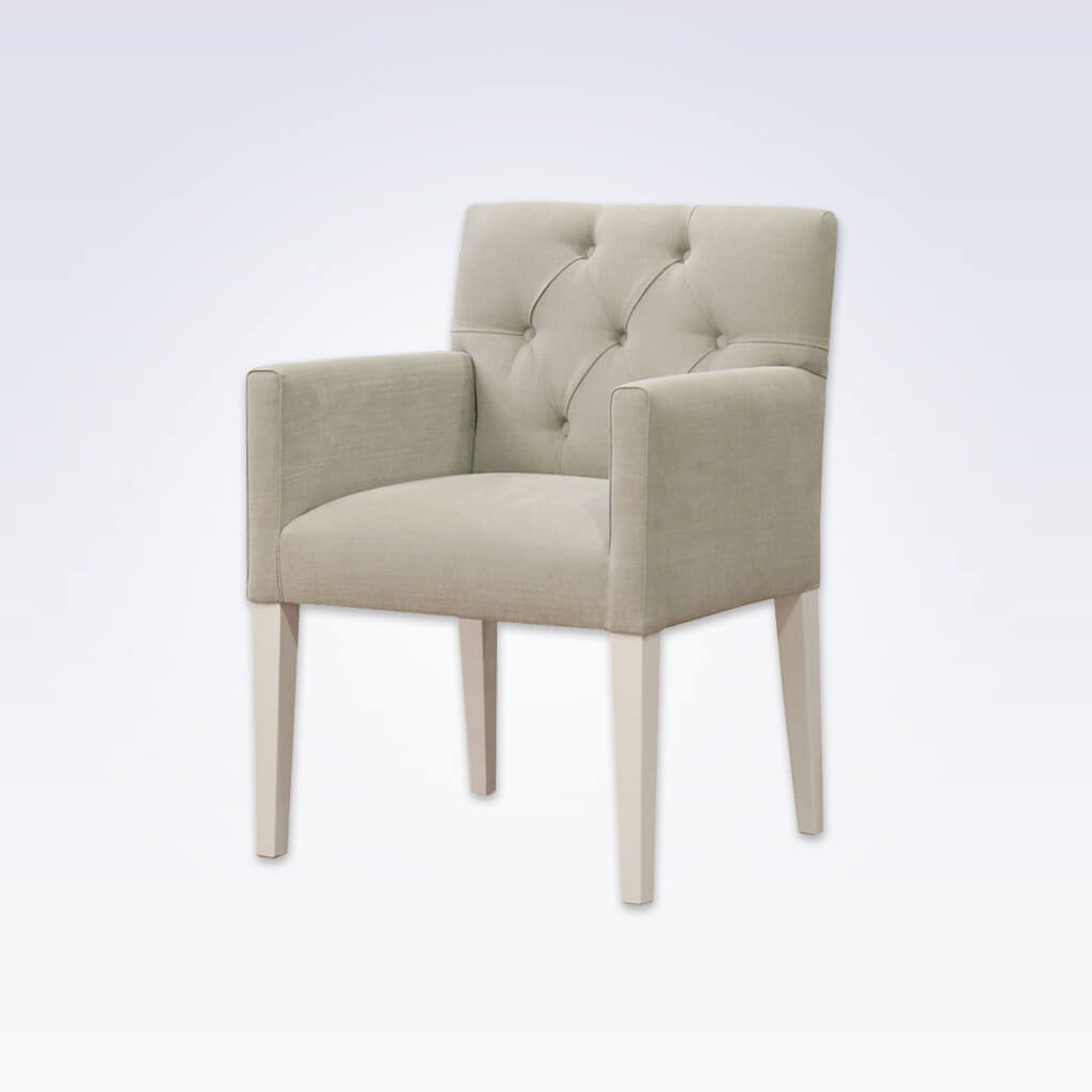 Dallas Fully Upholstered Cream Buttoned Tub Chair Deep Padded Seat and Buttoned Backrest 2018 TC1