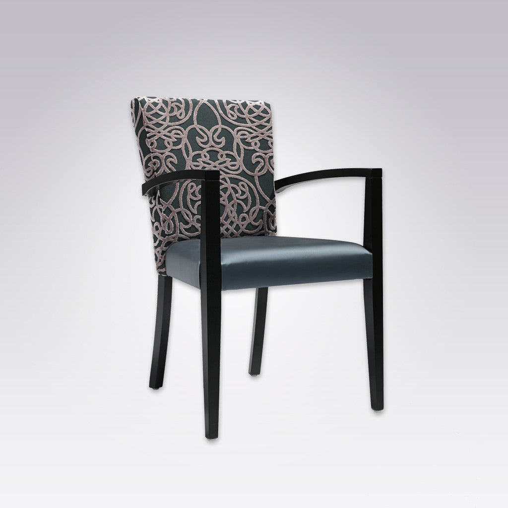 Dante Blue and Black Armchair with Patterned Back Detail and Show Wood Arms 4011 AC1