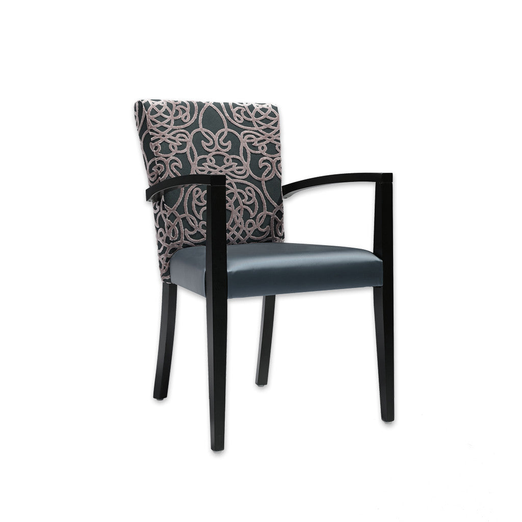 Dante Blue and Black Armchair with Patterned Back Detail and Show Wood Arms 4011 AC1 - Designers Image