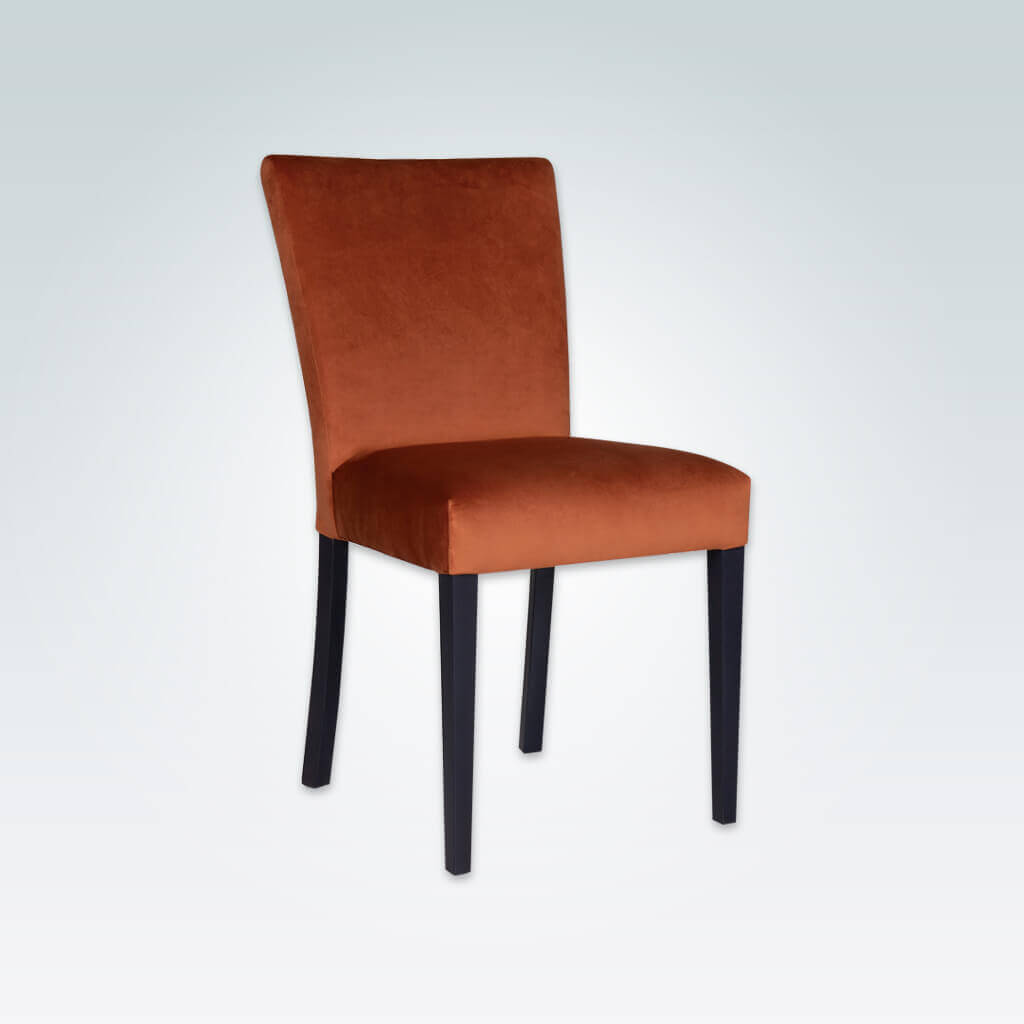Dante Velvet Dining Chair Fully Upholstered with Dark Tapered Wooden Legs 3024 RC1