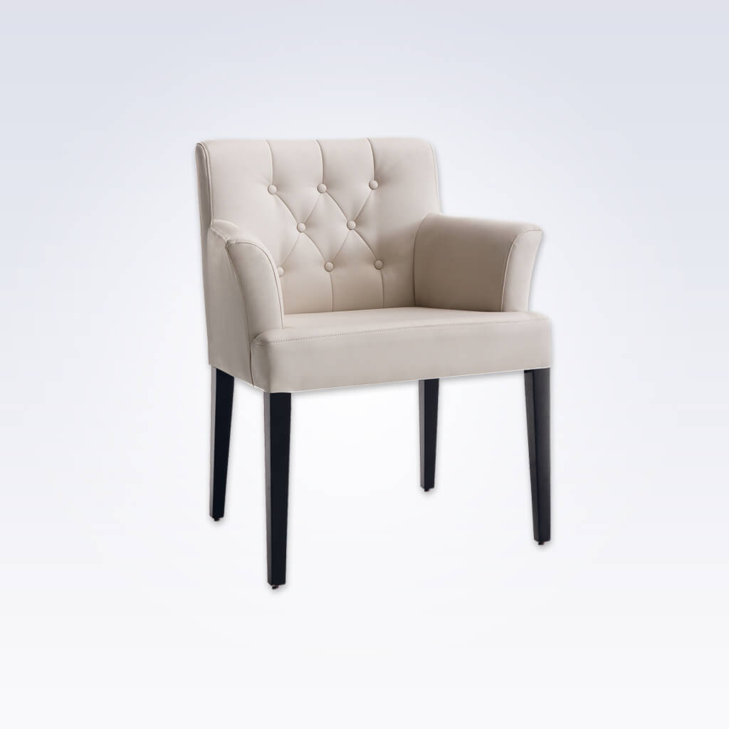 Danube Fully Upholstered Cream Tub Chair With Buttoned Backrest and Dark Wooden Legs 2001 TC1