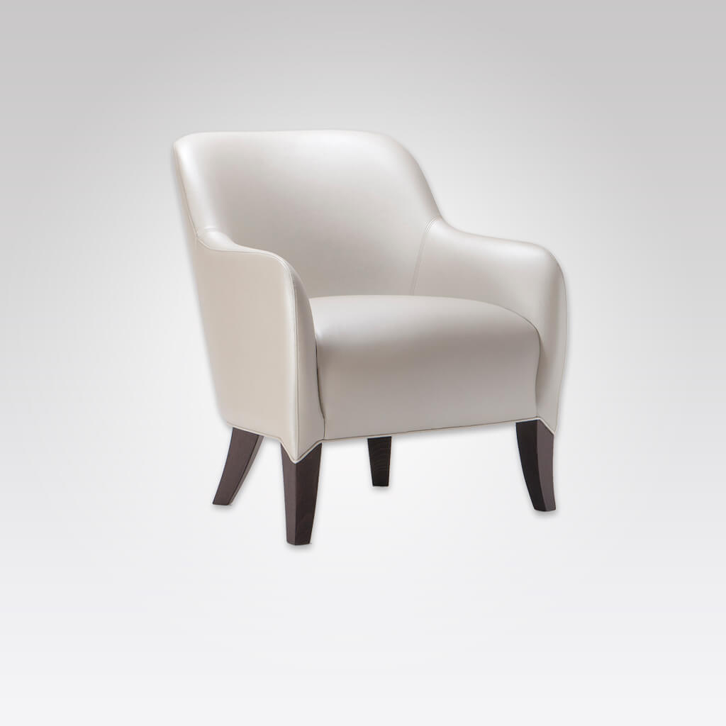 Daphne Deep Cushioned White Leather Lounge Chair with Extended Upholstery detail over tapered Legs 1003 LC