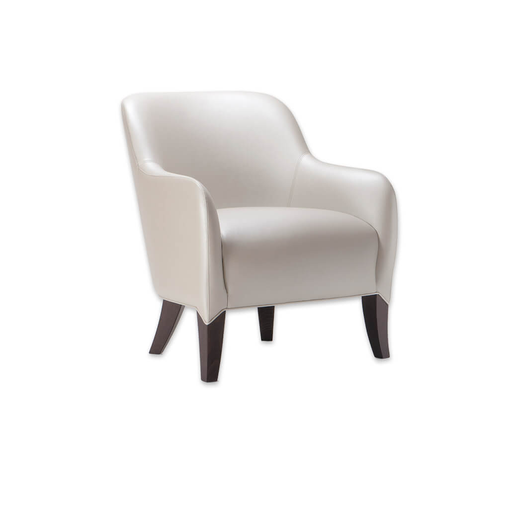Daphne Deep Cushioned White Leather Lounge Chair with Extended Upholstery detail over tapered Legs 1003 LC - Designer Image