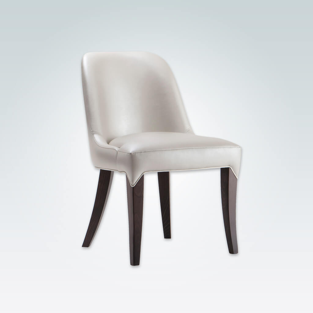Daphne Curved Back Dining Chair Cream Faux Leather with Extended Upholstery Detail over the Legs 3009 RC1