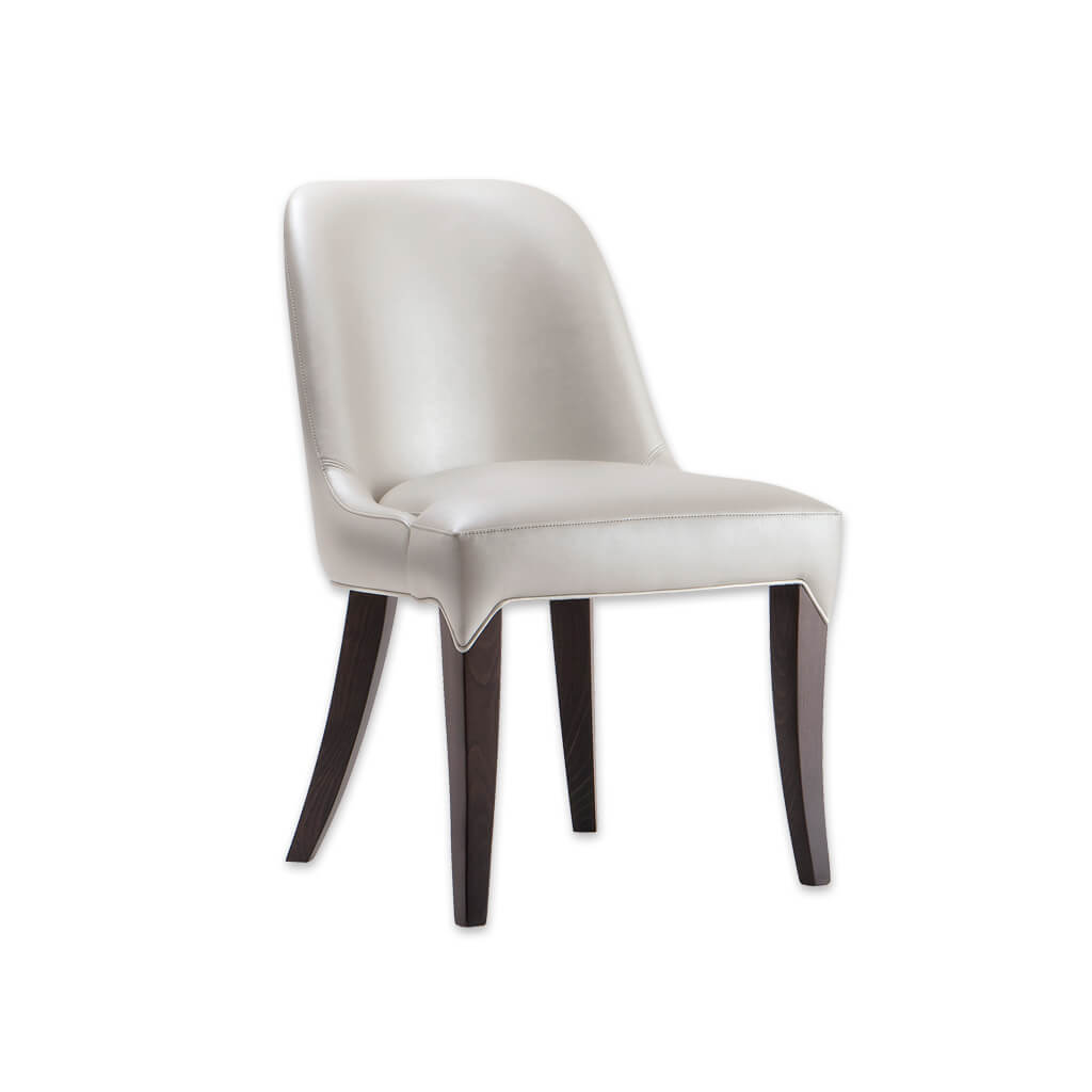 Daphne Curved Back Dining Chair Cream Faux Leather with Extended Upholstery Detail over the Legs 3009 RC1 - Designers Image