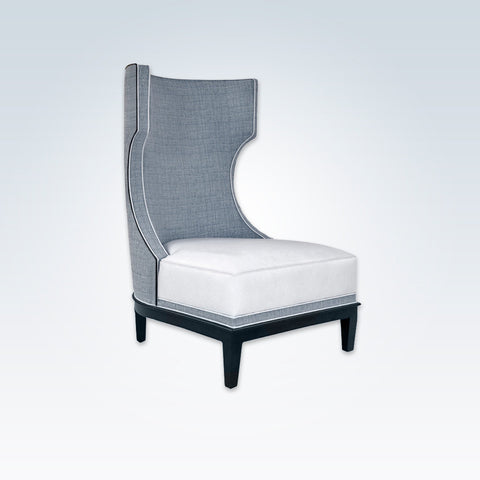 Dara grey and white accent chair with high hammerhead back and deep padded cushion 7002 AT1