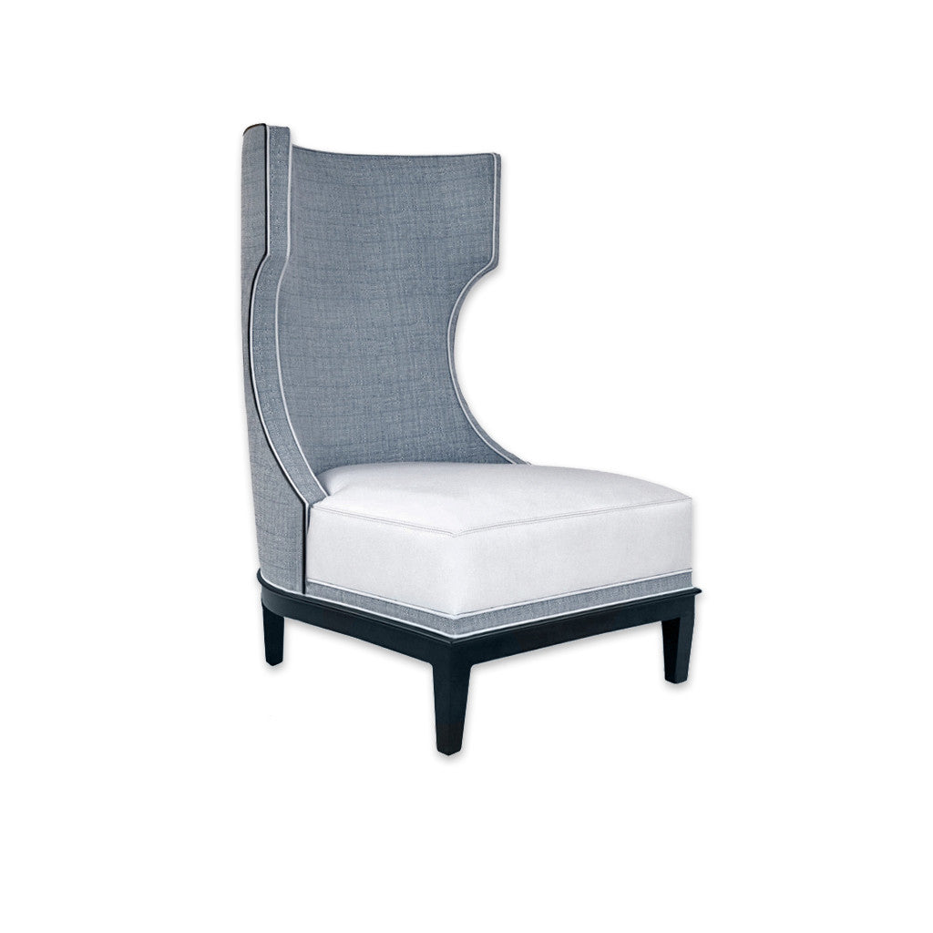 Dara grey and white accent chair with high hammerhead back and deep padded cushion 7002 AT11 - Designers Image