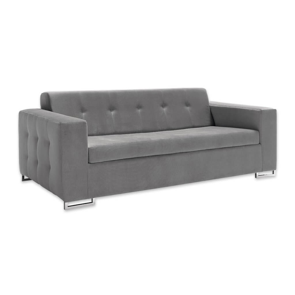 Delphine modern grey fabric sofa bed with decorative buttoning to the outside and open chrome feet 9012 SB1 - Designers Image