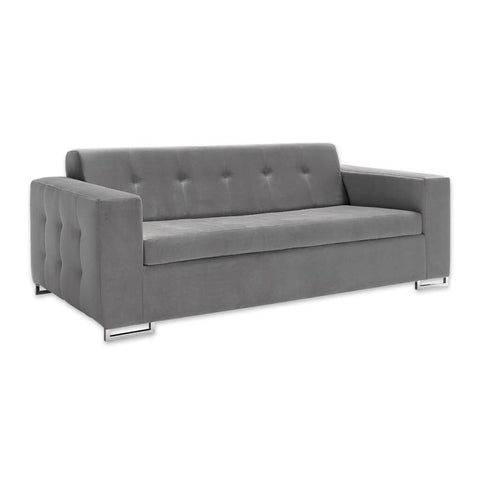 Delphine modern grey fabric sofa bed with decorative buttoning to the outside and open chrome feet 9012 SB1