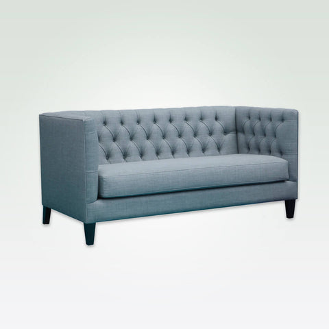 Diamond light blue fabric sofa with deep buttoning to back and arms and tapered feet 8015 SF1