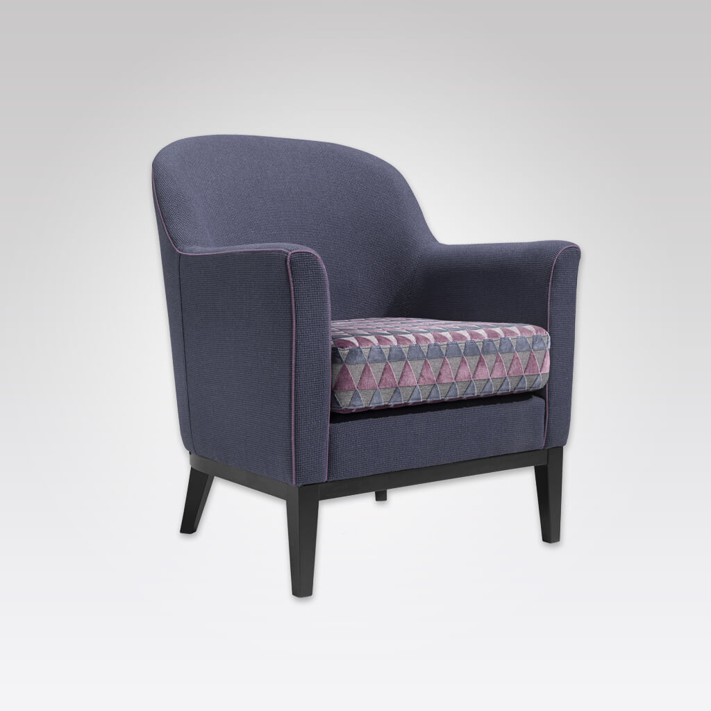 Diego Round Back Geometric Patterned Armchair with Loose Seat Pad and Purple Piping 1051 LC1