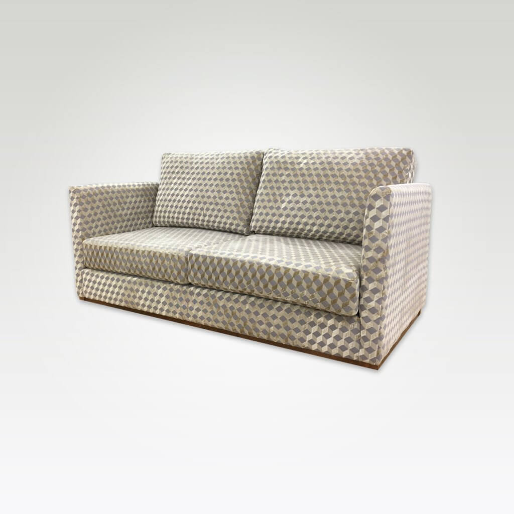 Dione patterned sofa bed with cream and grey upholstery and deep padded cushions 9005 SB1