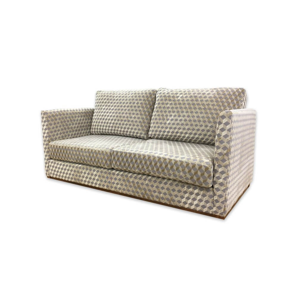 Dione patterned sofa bed with cream and grey upholstery and deep padded cushions 9005 SB1 - Designers Image