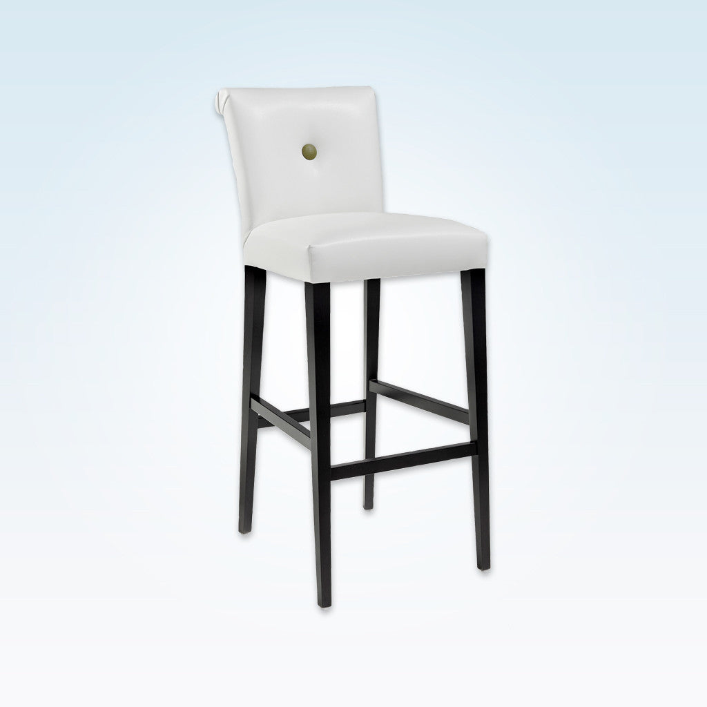 Donatella white and black bar stool with high scroll back and tapered timber legs 6019 BR1