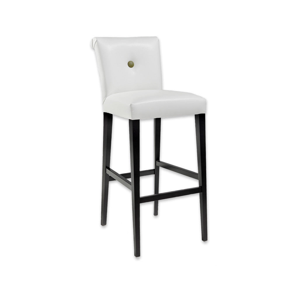 Donatella white and black bar stool with high scroll back and tapered timber legs 6019 BR1 - Designers Image