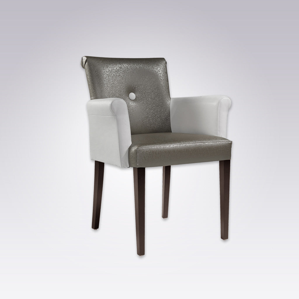 Donatella Grey and White Armchair with Scroll Back and Arms 4017 AC1
