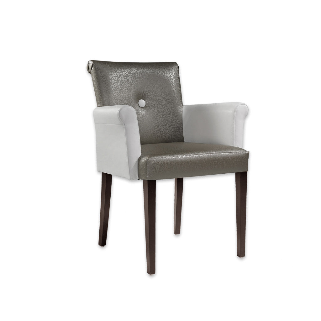 Donatella Grey and White Armchair with Scroll Back and Arms 4017 AC1 - Designers Image