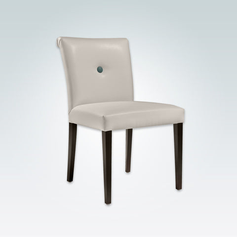 Donatella Cream Leather Dining Chair Scroll Back with One Button Back Detail and Dark Tapered Legs 3033 RC1