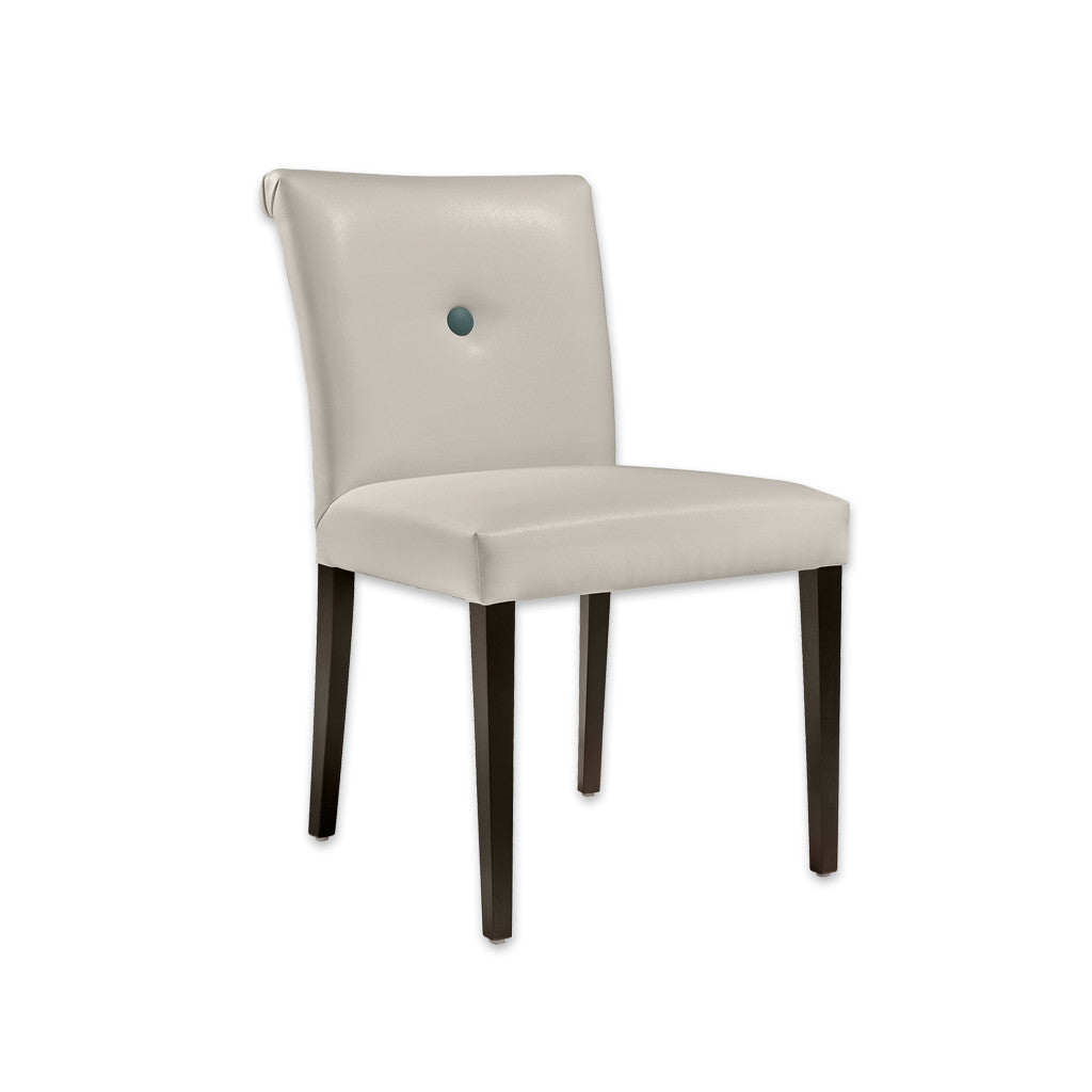 Donatella Cream Leather Dining Chair Scroll Back with One Button Back Detail and Dark Tapered Legs 3033 RC1 - Designers Image