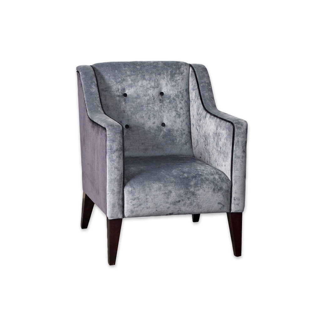 Earl Fully Upholstered Grey Velvet Tub Chair Buttoned Backrest and Sloping Armrests 2021 TC1 - Designers Image