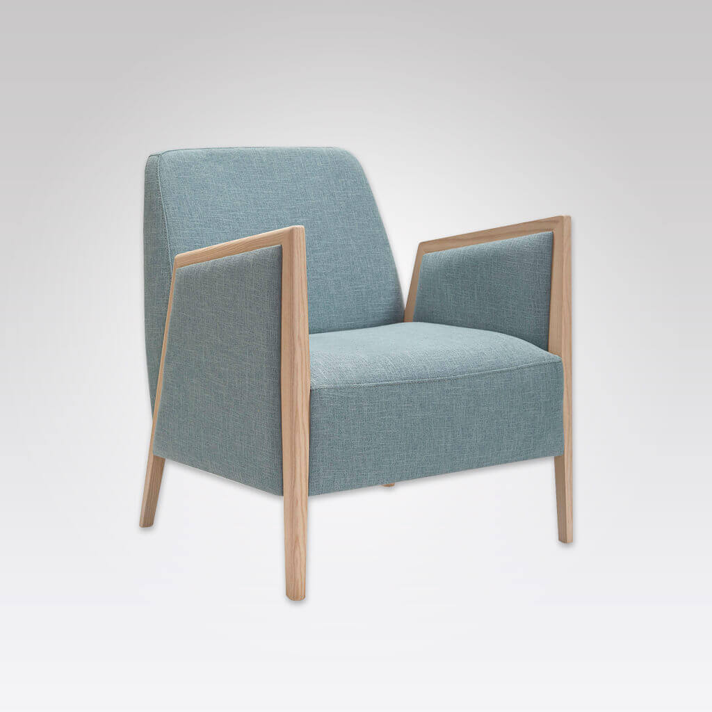Fully upholstered powder blue Edwin lounge chair with exposed wood arms 1069 LC1