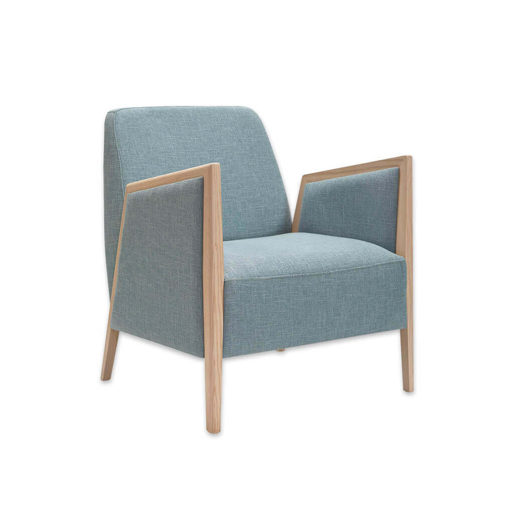 Fully upholstered powder blue Edwin lounge chair with exposed wood arms 1069 LC1 - Designers Image
