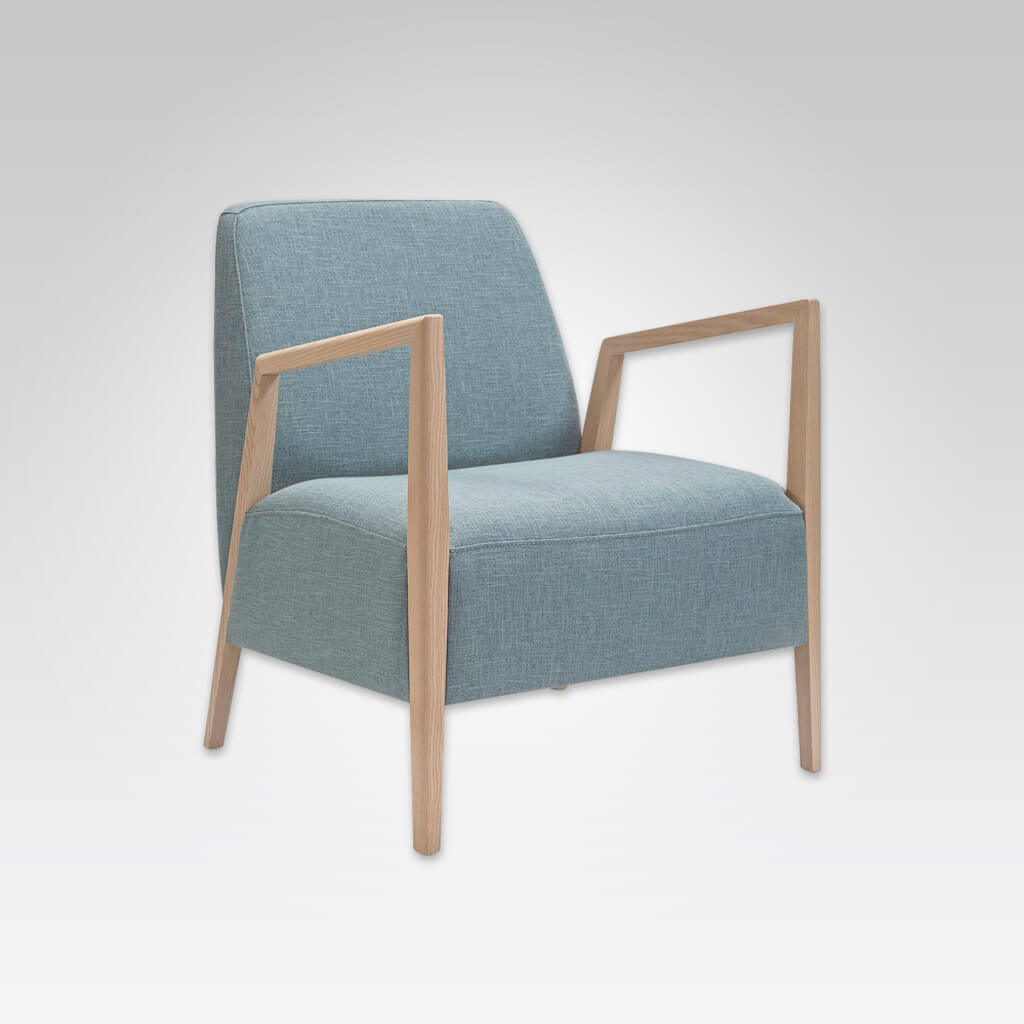 Sky blue deep a-frame Edwin lounge chair with exposed light wood arms 1069 LC2