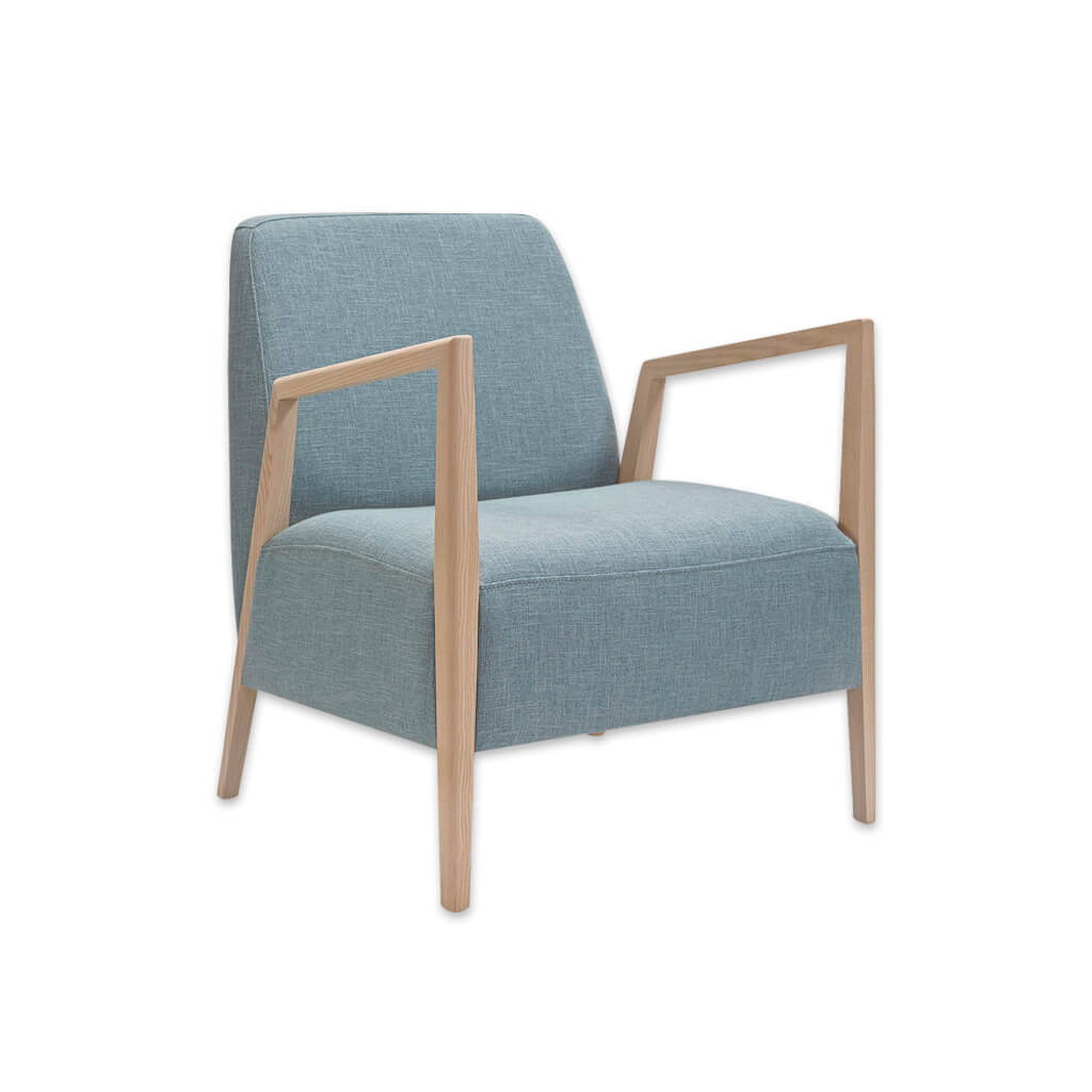 Sky blue deep a-frame Edwin lounge chair with exposed light wood arms 1069 LC2 - Designers Images